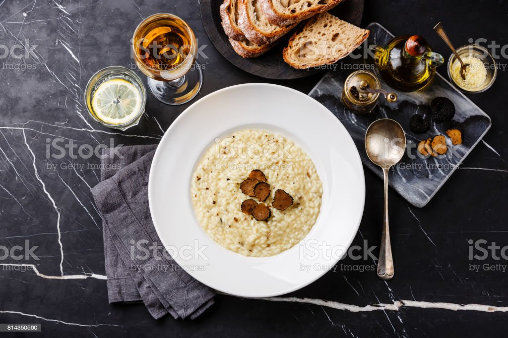Risotto with black truffle stock photo
