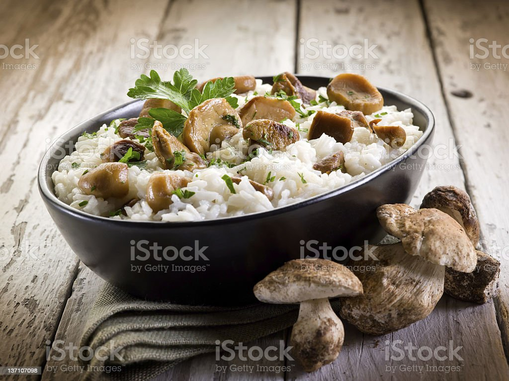 risotto with cep edible mushrooms stock photo