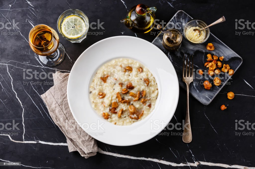 Risotto with chanterelle mushroom stock photo
