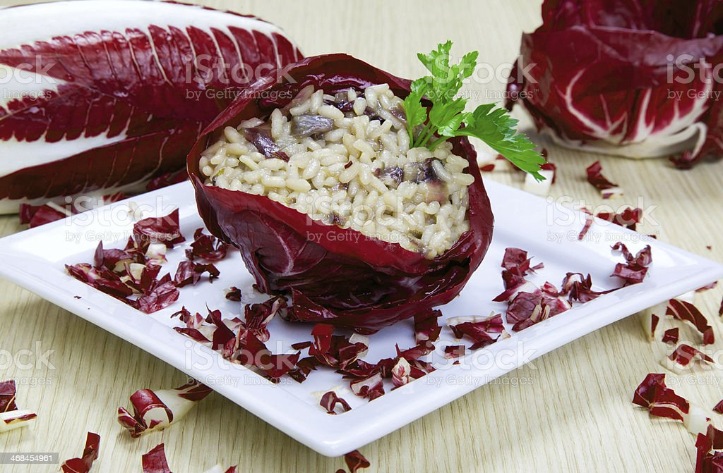 risotto with cicory, radicchio royalty-free stock photo