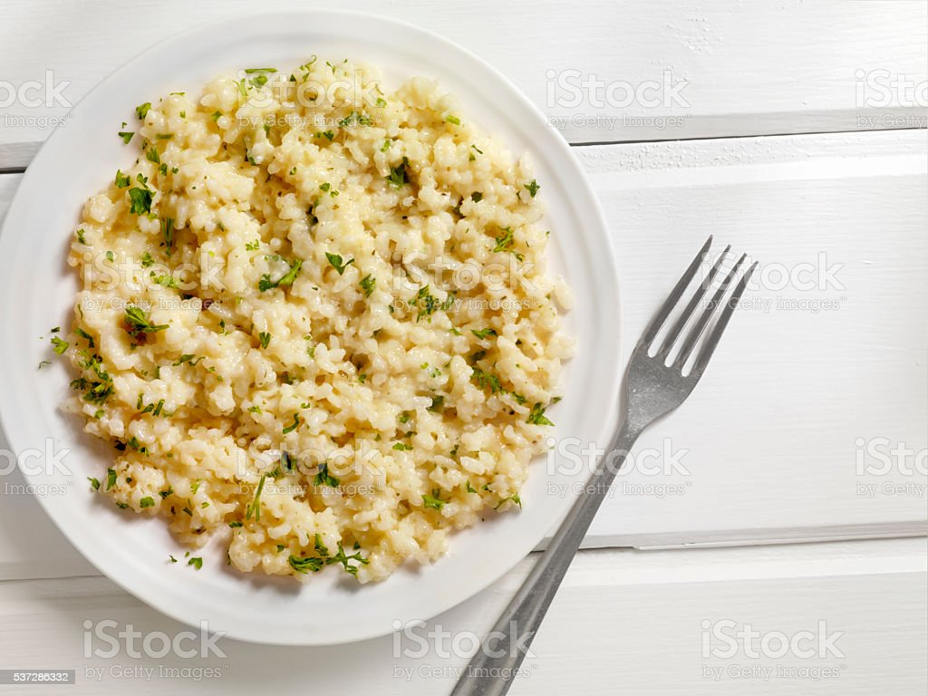 Risotto with Fresh Parsley stock photo