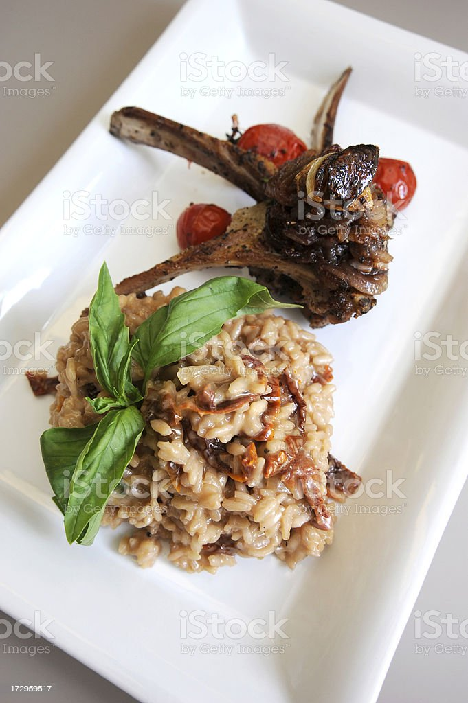 Risotto with Lamb Chops royalty-free stock photo