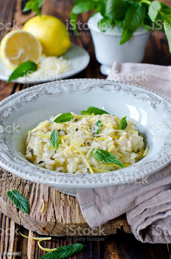 Risotto with lemon and mint stock photo