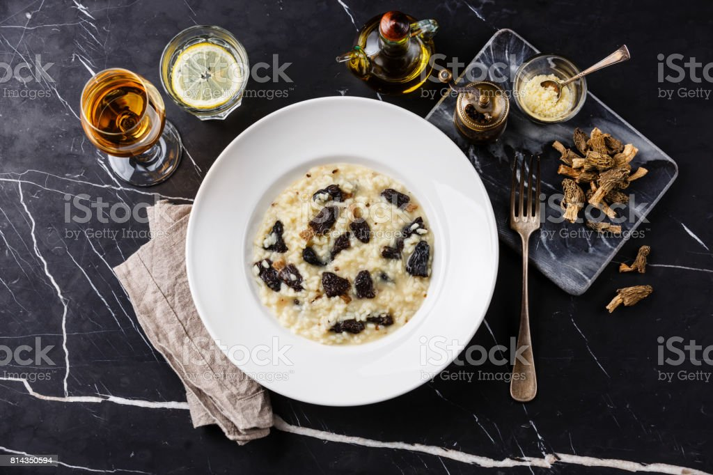Risotto with morels stock photo