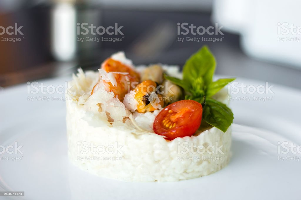 Risotto with mussels and shrimps stock photo