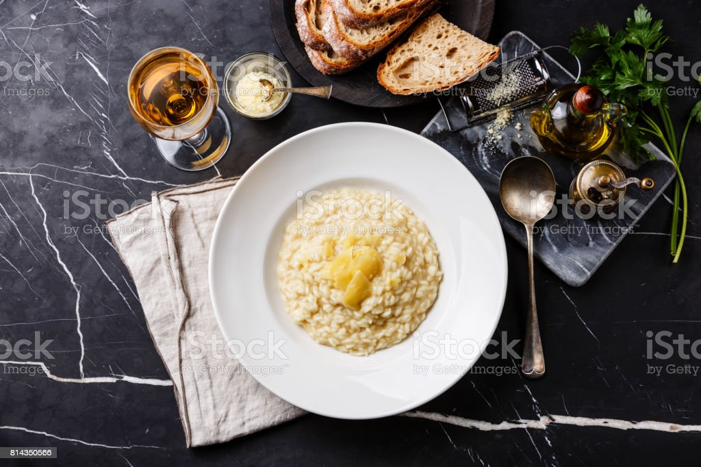 Risotto with parmesan cheese stock photo