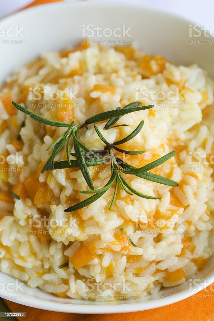 Risotto With Pumpkin, Rosemery Leaves on the Top stock photo