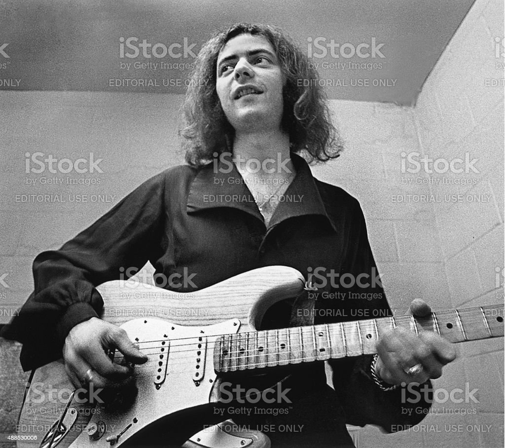 Ritchie Blackmore Tunes His Guitar Before Performing stock photo