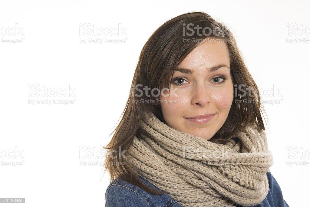 ritratto ragazza sorridente su fondo bianco royalty-free stock photo