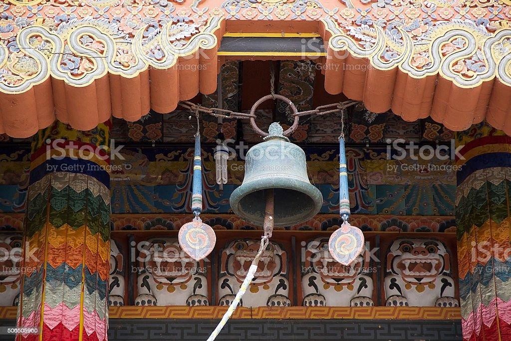 Ritual bell at the Punakha Dzong, Punakha, Bhutan stock photo