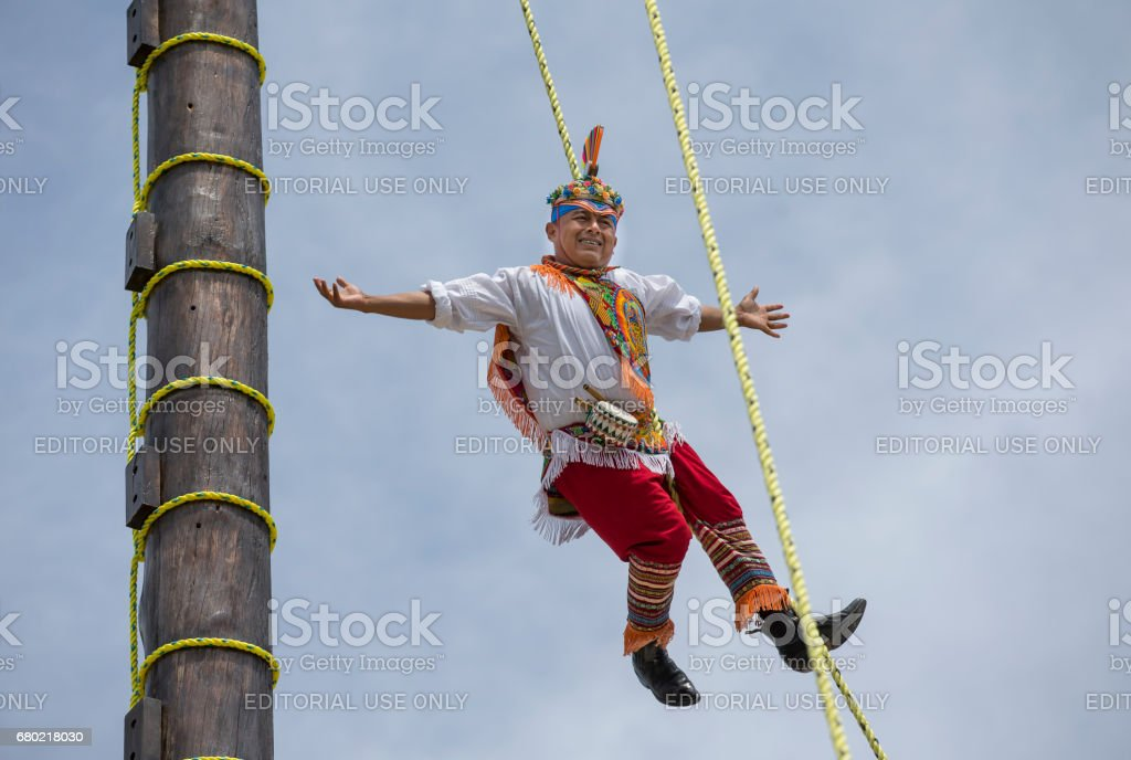 ritual ceremony of the Voladores (Flying Men) stock photo