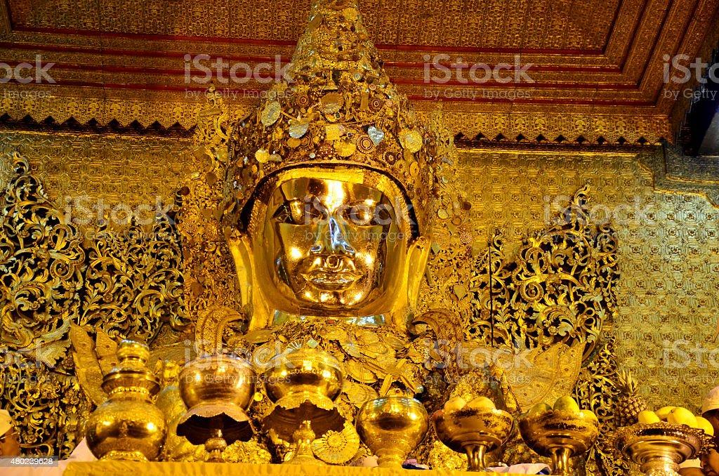 Ritual commences at Mahamuni Buddha Temple stock photo