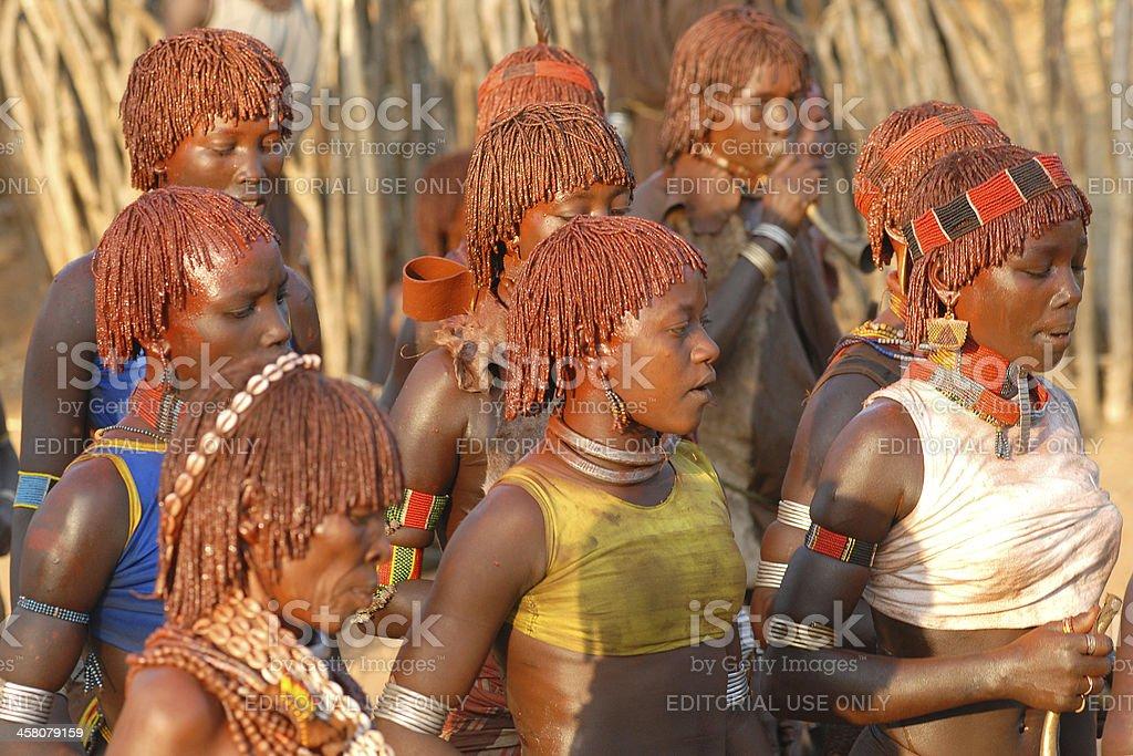 Ritual Dance of Hamar women, Lower Omo Valley, Ethiopia stock photo