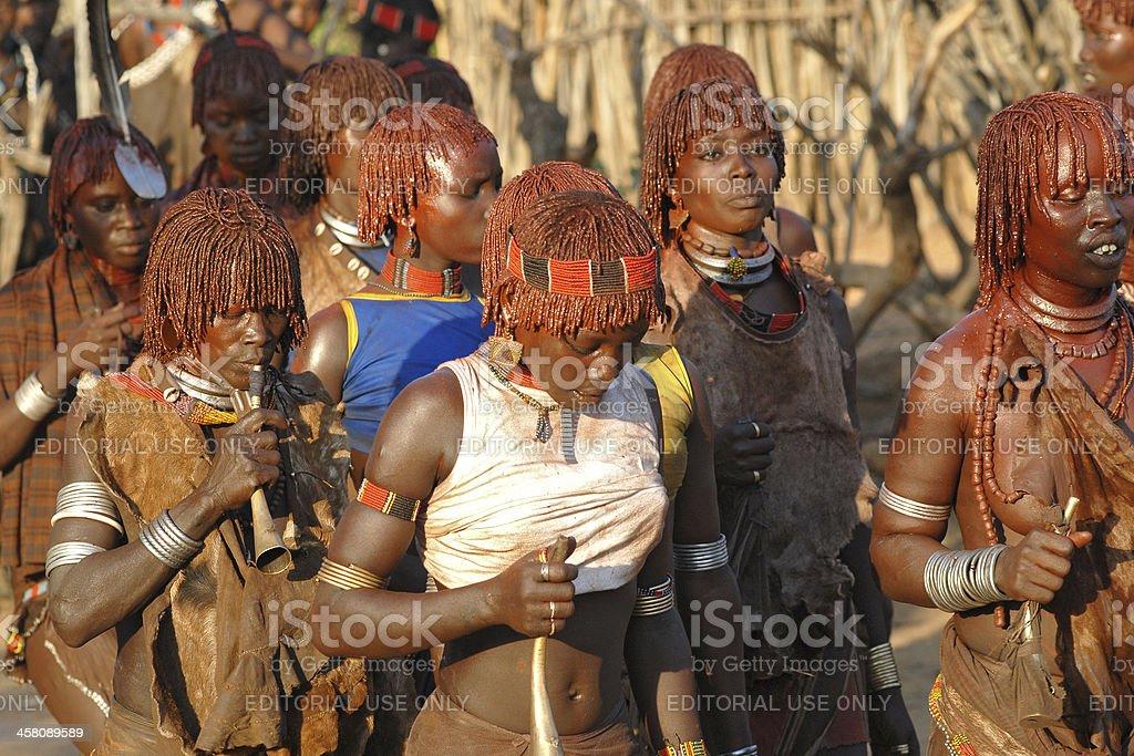 Ritual Dance of Hamar women, Lower Omo Valley, Ethiopia royalty-free stock photo