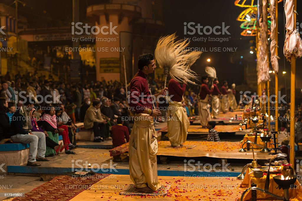 Ritual entertainment in Varanasi stock photo