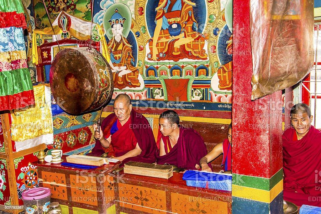 ritual in the bon monastery stock photo