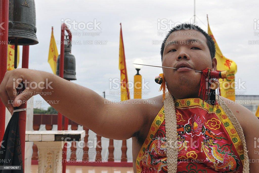 Ritual Mortification at the Nine Emporer Gods Festival stock photo