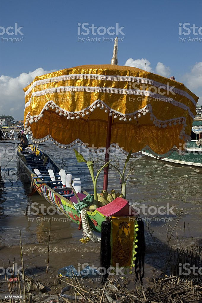 Ritual Offering on Boat at Water Festival stock photo