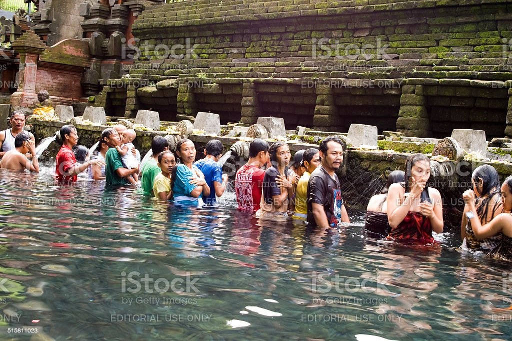 Ritual Purification in Holy Pool stock photo