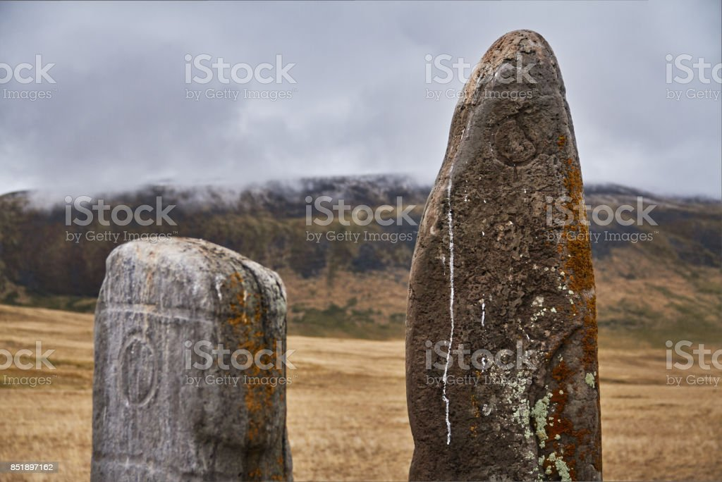 Ritual stones for sacrifices to the gods. The Ukok Plateau Of Altai. Fabulous cold landscapes. Anyone around stock photo