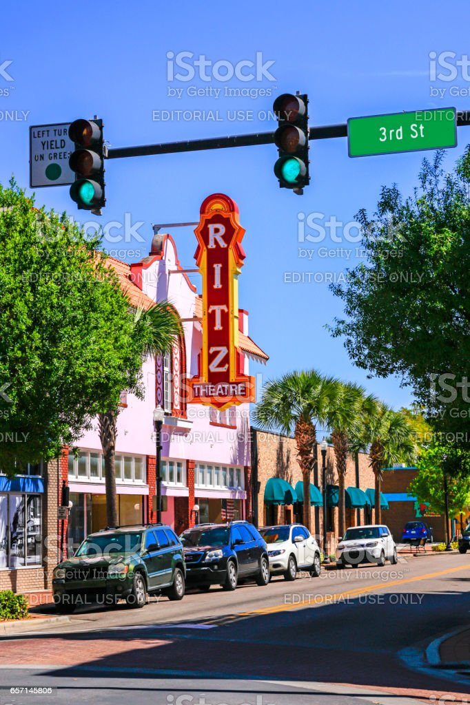 Ritz Theatre overhead sign on W. Central Ave in downtown Winter Haven, Florida stock photo