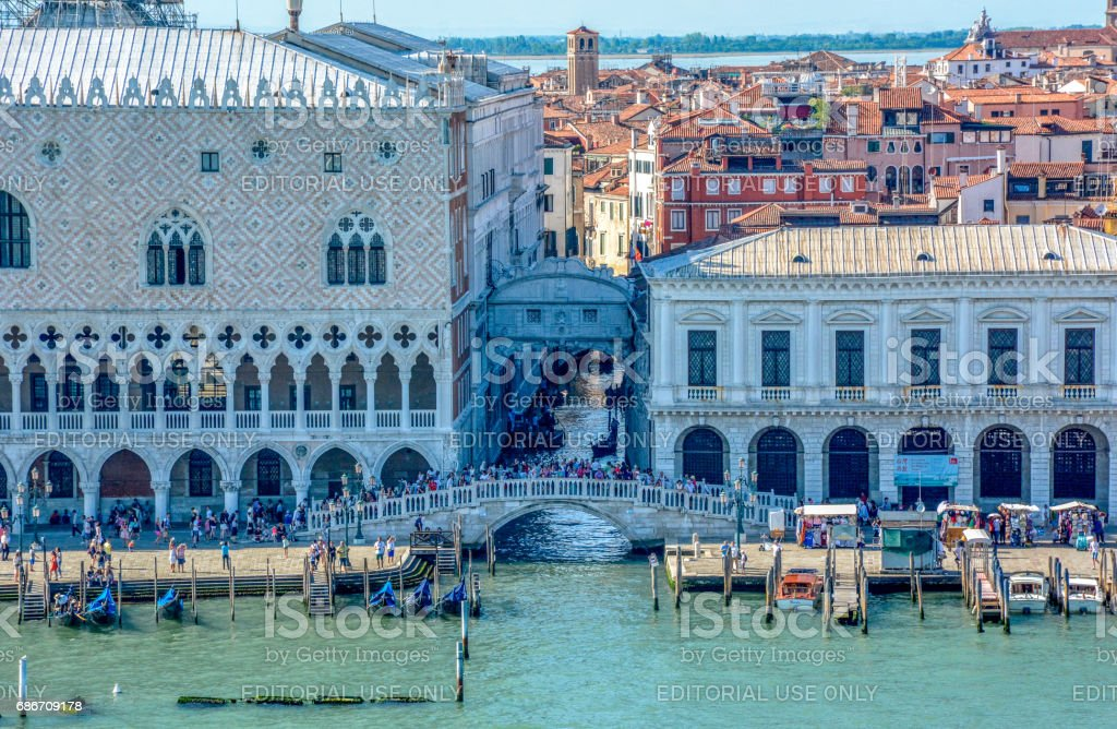 Riva Bridge & Bridge of Sighs, Venice, Italy stock photo