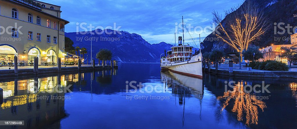 Riva del Garda at Christmas, Italy stock photo