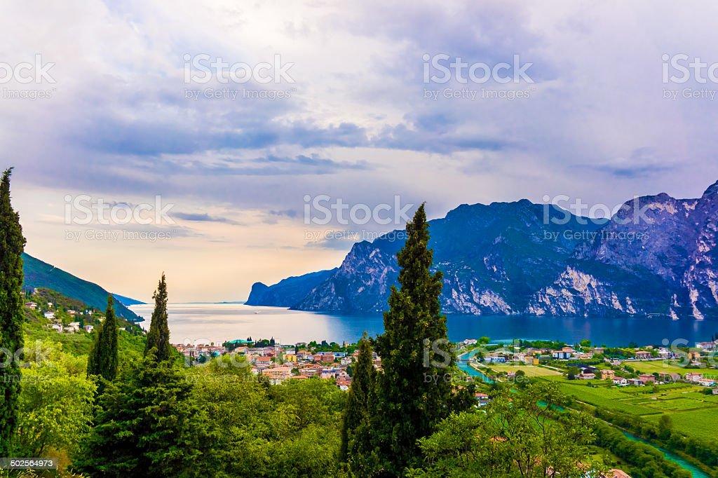 riva del garda.  Mountain lake Lago di Garda royalty-free stock photo