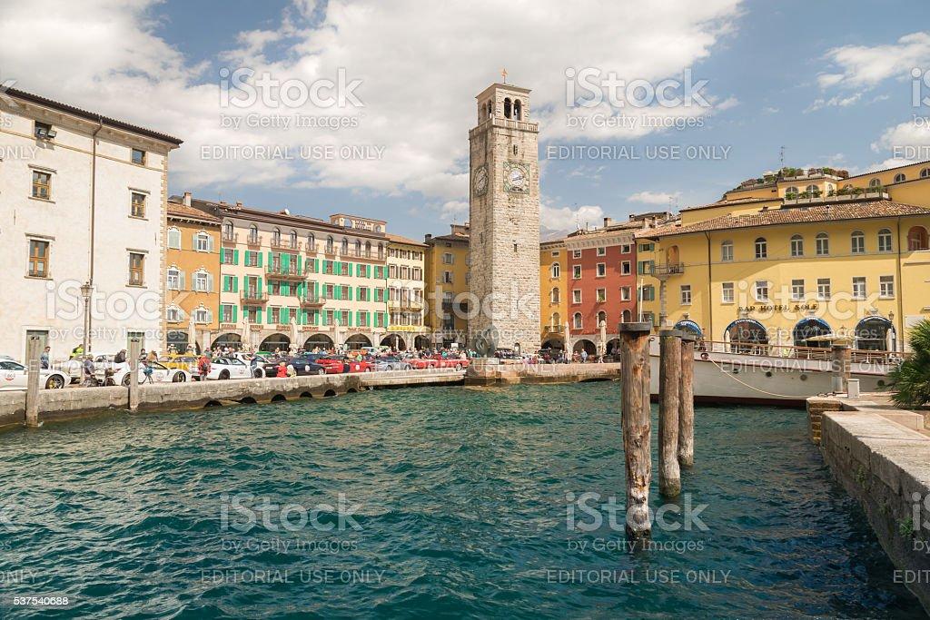 Riva del Garda seen from the lake. stock photo