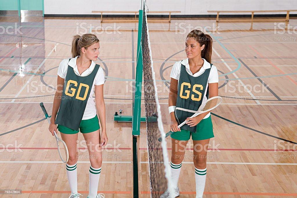Rival badminton players stock photo