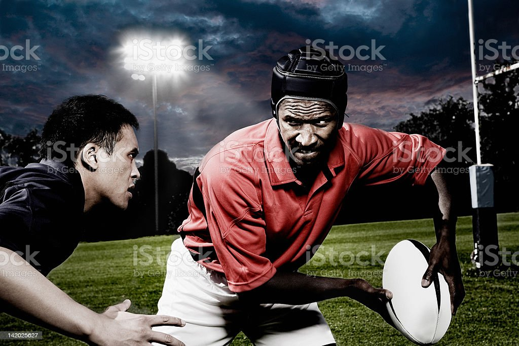Rival rugby players stock photo