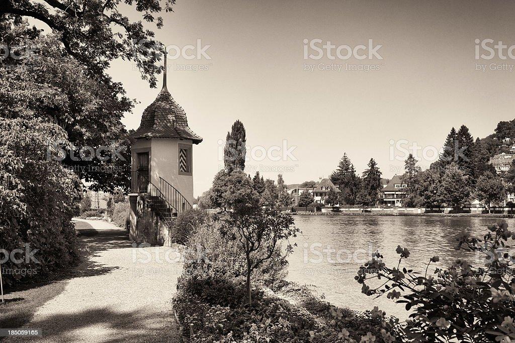 River Aare flowing through Thun, Switzerland royalty-free stock photo