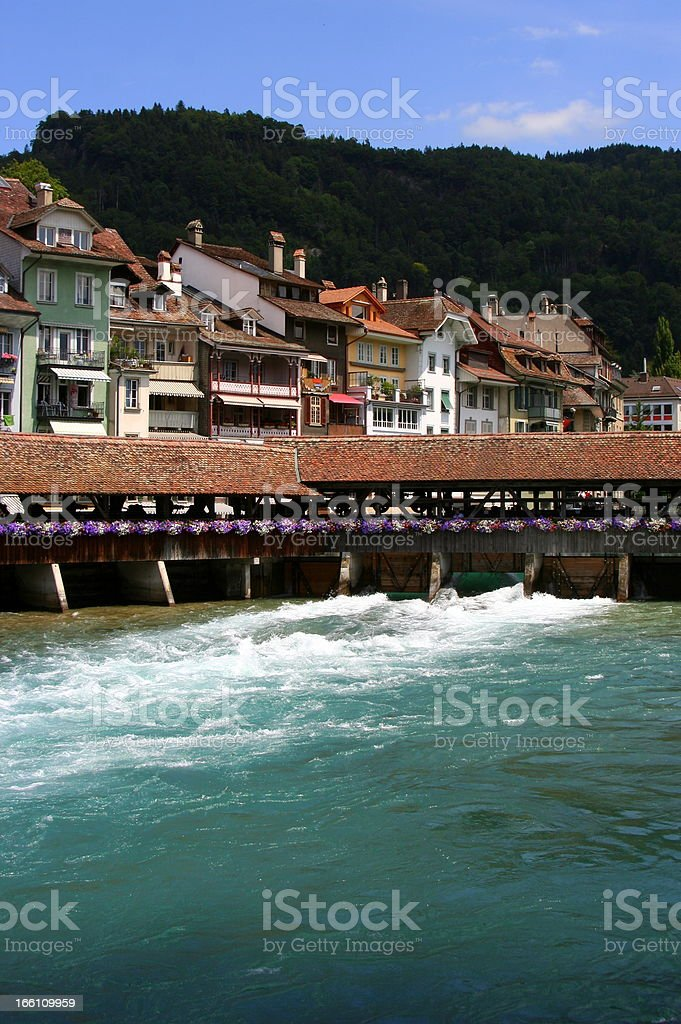 River Aare in front of Thun, Switzerland royalty-free stock photo
