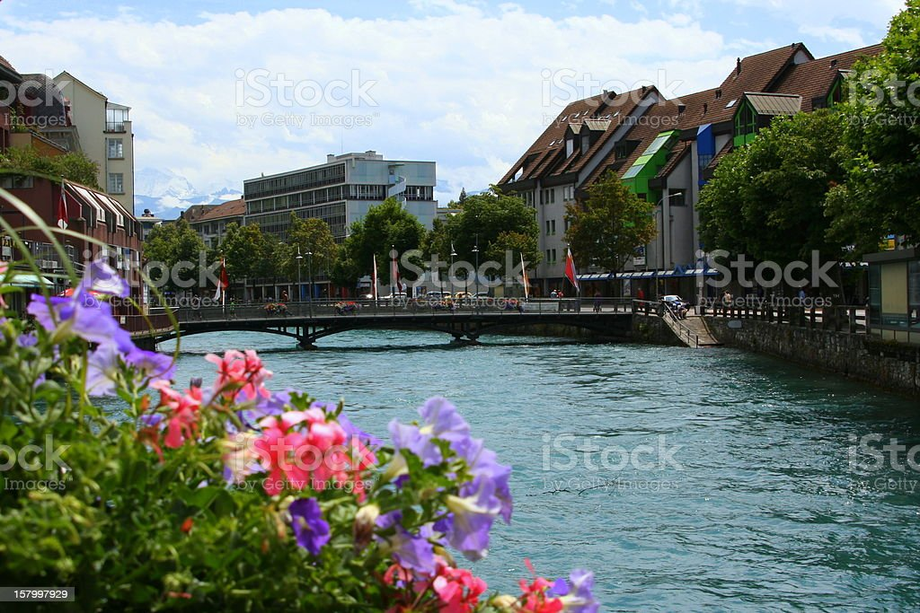 River Aare in Thun, Switzerland stock photo
