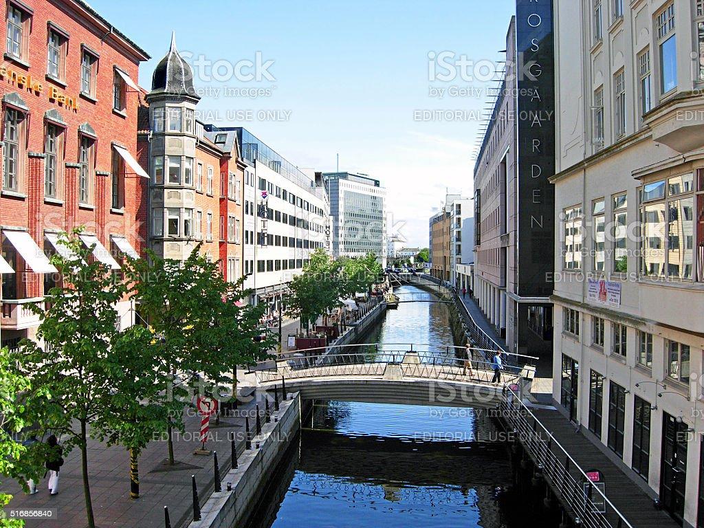 River Aarhus Å with the promenade in the city of Aarhus in Denmark stock photo