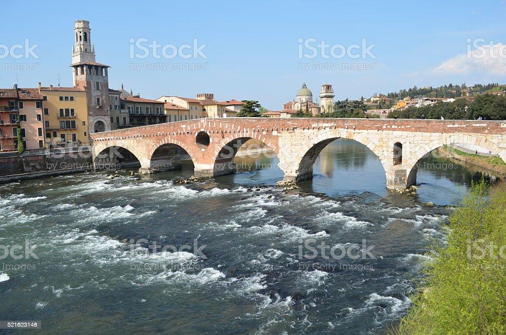 River adige crosses Verona stock photo