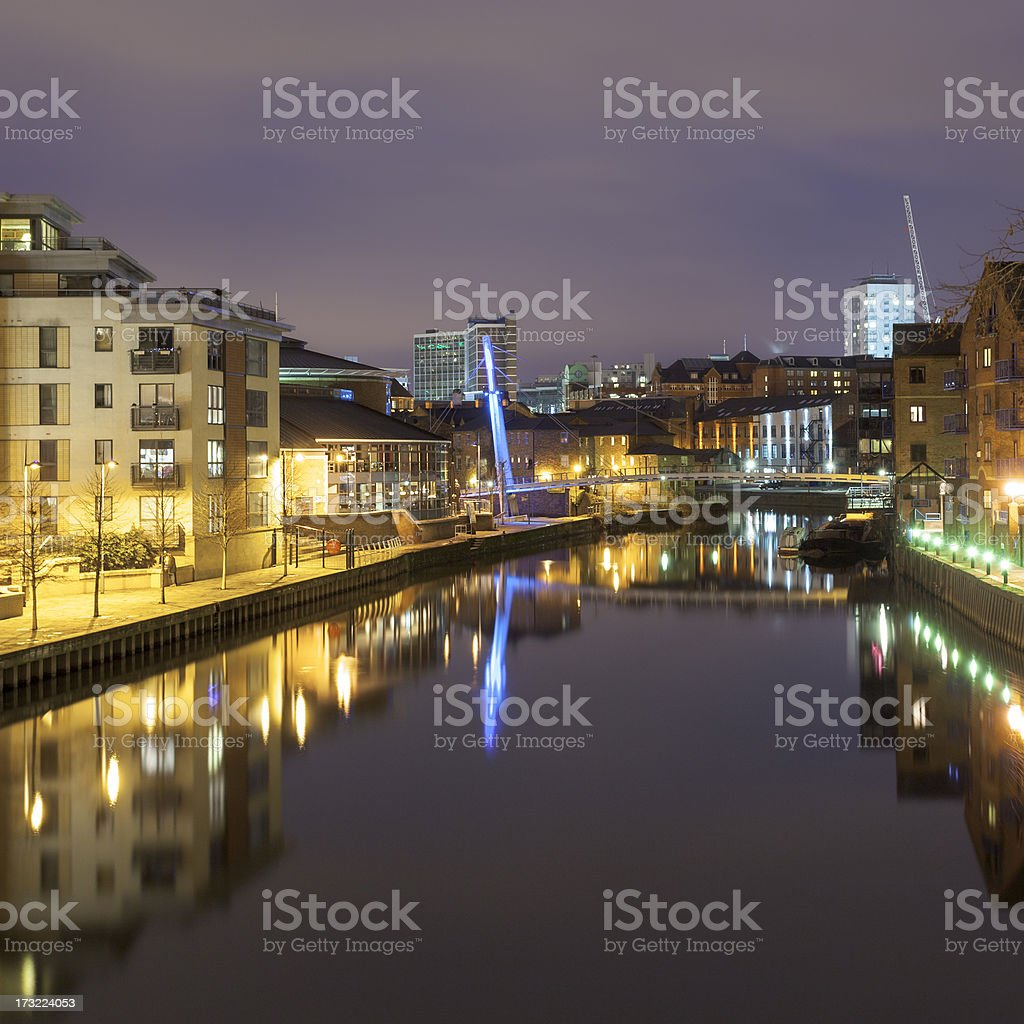 River Aire in Leeds at night stock photo