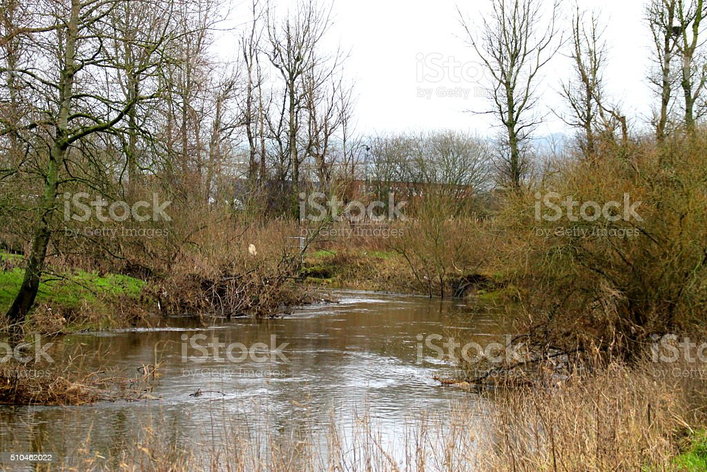River Aire, Uk, Post floods, Bankings, Water stock photo