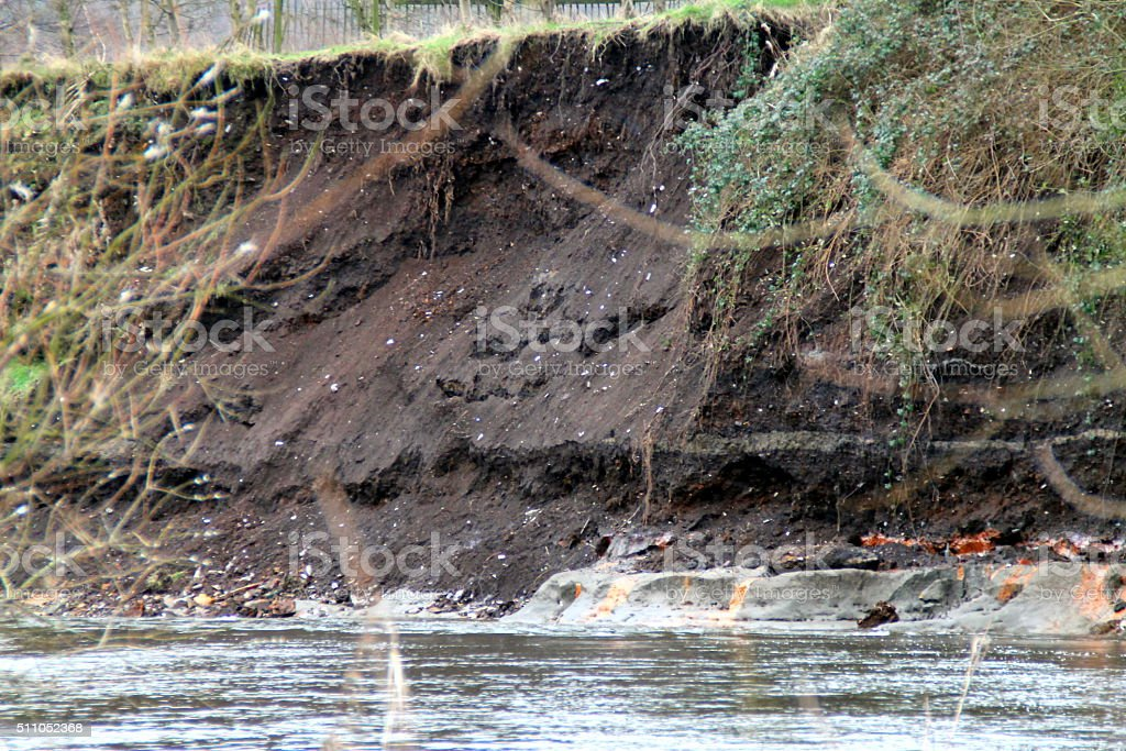 River Aire, Uk, Post floods, Bankings, Water, rubbish stock photo
