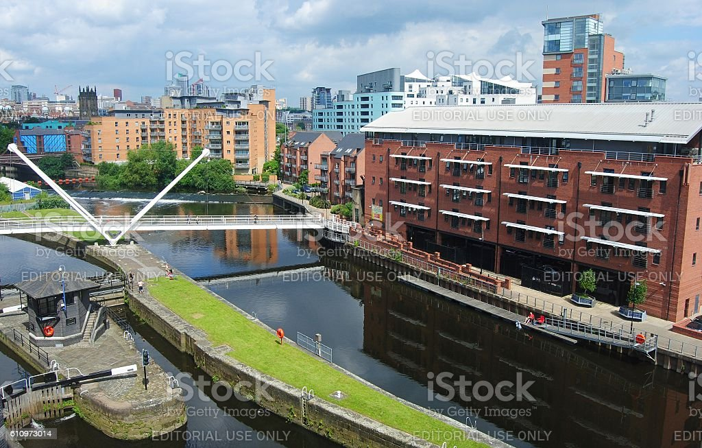 River Aire waterfront in Leeds stock photo