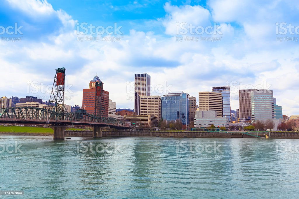 River along some buildings at Portland, Oregon in the day stock photo