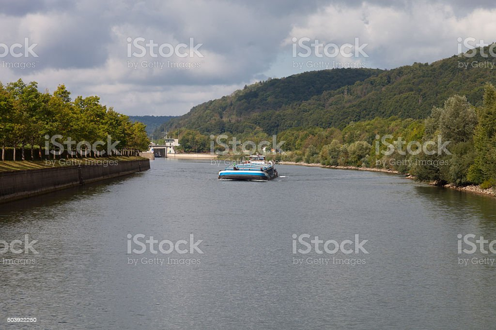 River Altmühl at Kelheim, Germany stock photo