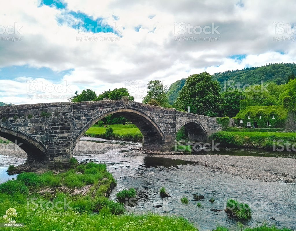 River and bridge in Llranrwst stock photo
