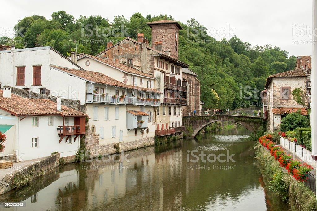 River and bridge Saint Jean Pied de Port stock photo