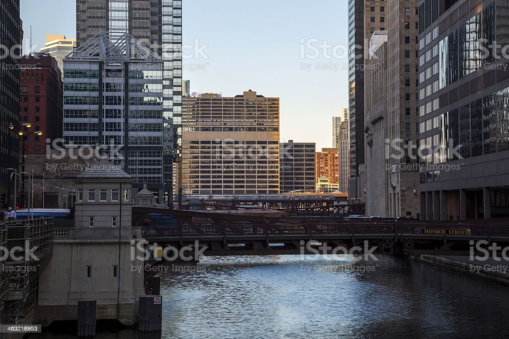 River and Bridges in the Chicago Loop royalty-free stock photo