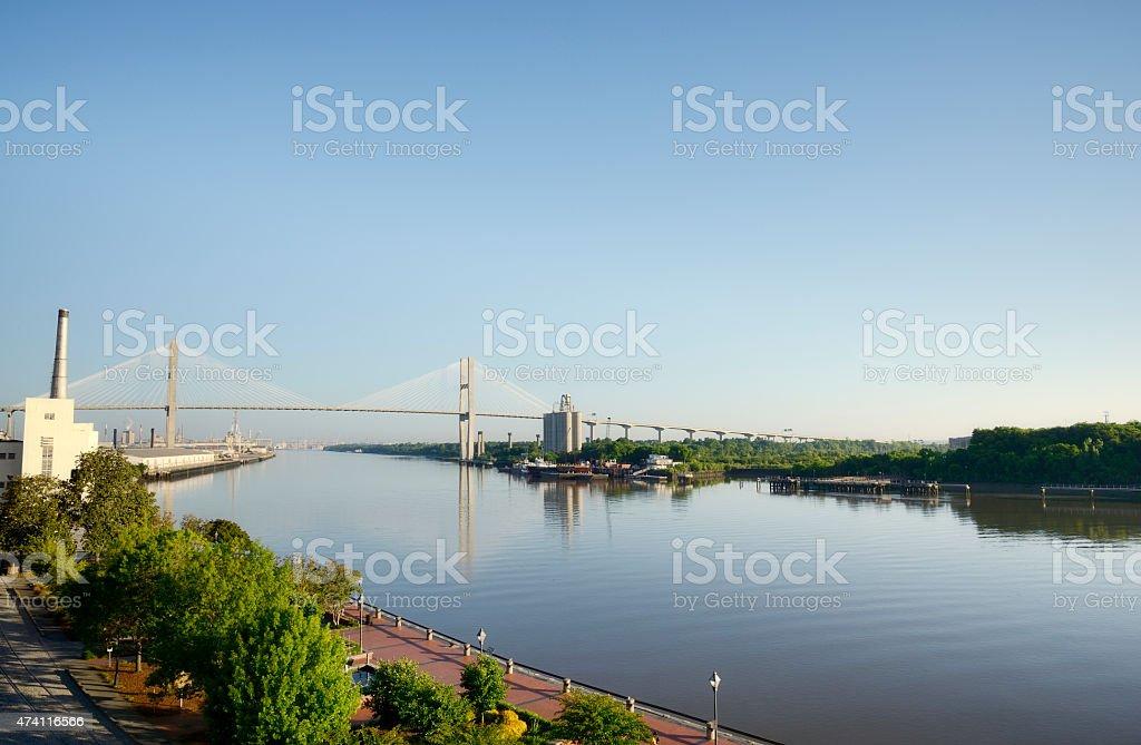 River and Bridge,Savannah,Georgia stock photo