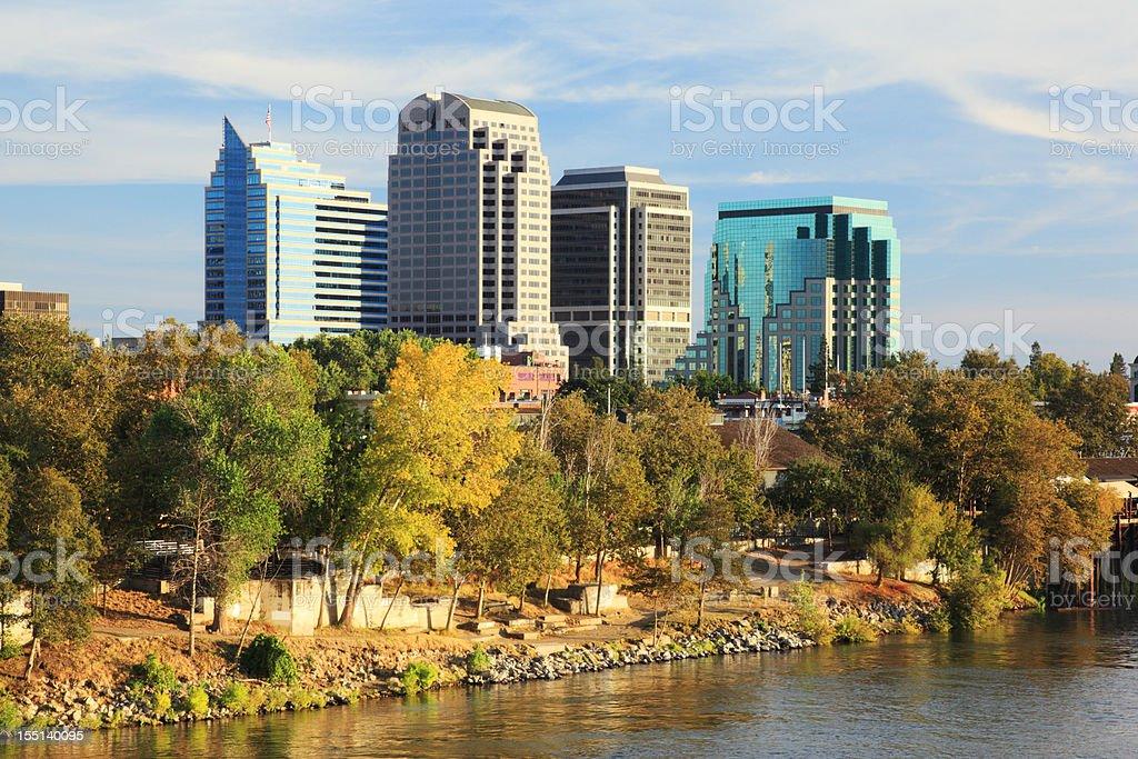 River and buildings at Sacramento, California stock photo