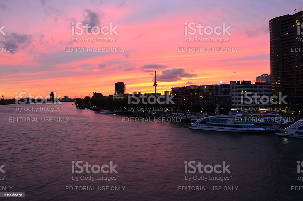 River and cityscape in twilight panorama in Rotterdam, Netherlands. stock photo