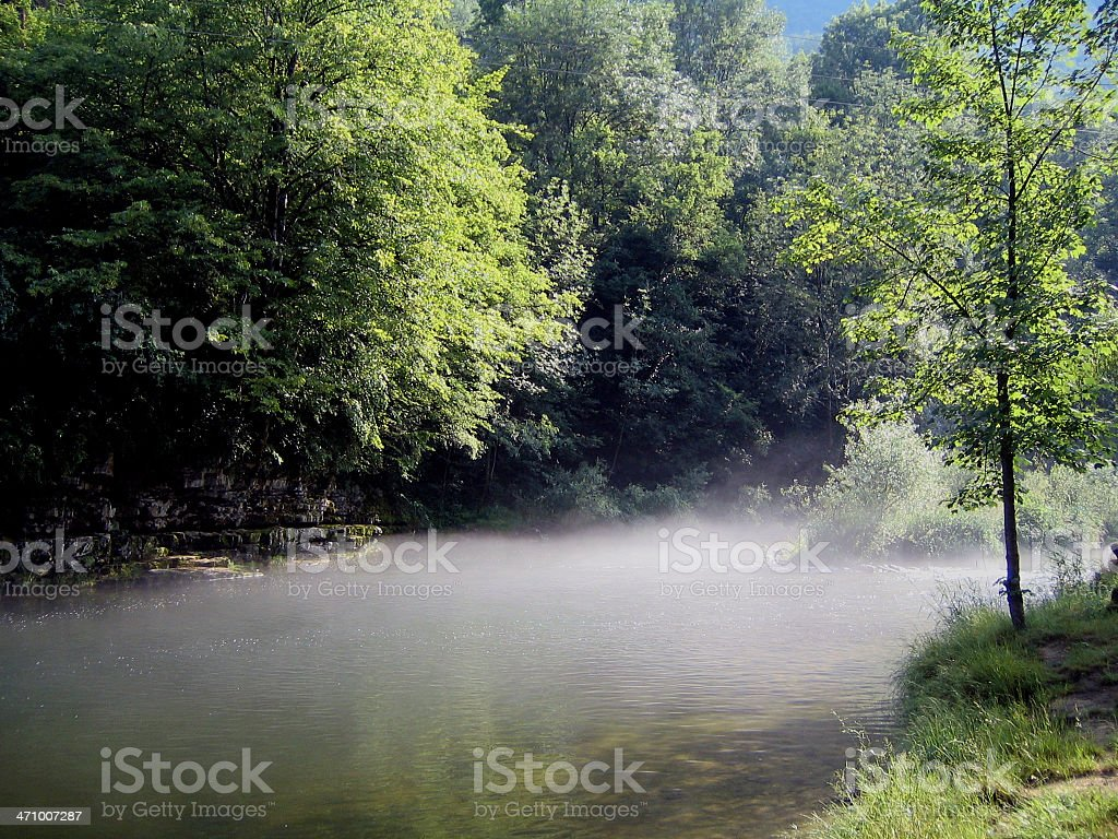 River and early morning fog royalty-free stock photo