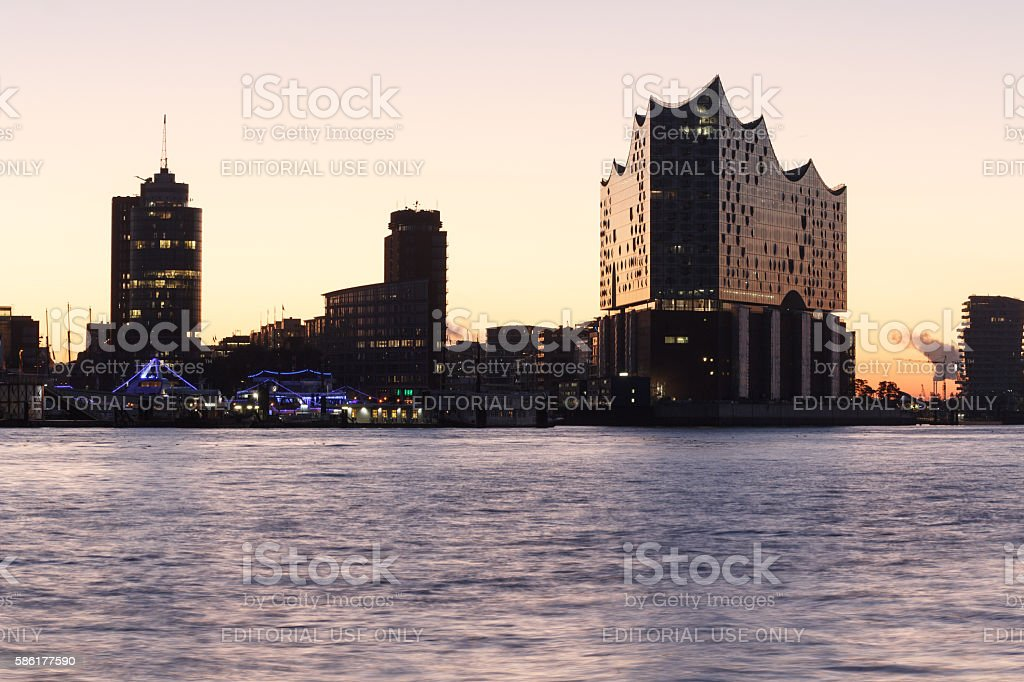 River and Elbe Philharmonic Hall with sunrise in Hamburg, Germany stock photo